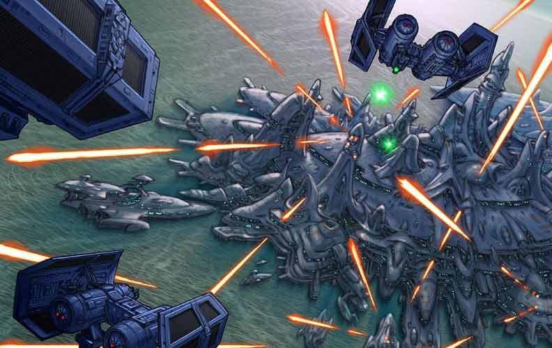 bombardement des villes Mon Calamari par les impériaux