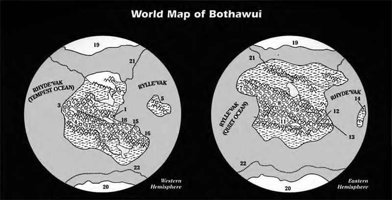 cartes des hémisphèresest-ouestde Bothawui
