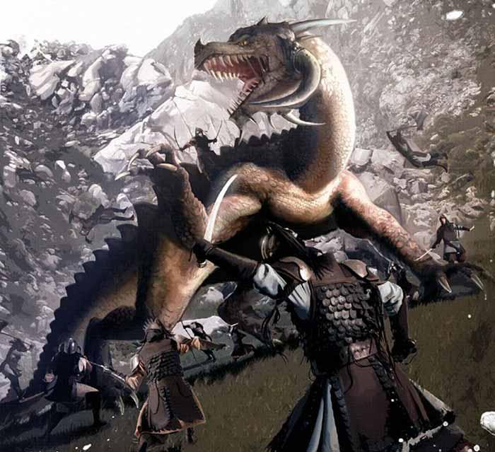 Des guerriers Taungs affrontent un Mythosaure