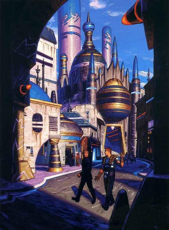 Luke et Dash Rendar dans les rues de Drev'Starn