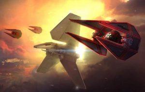 deux intercepteurs TIE de la Garde Impériale escortant une navette de classe Delta