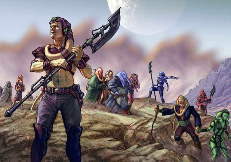 Un clan Twi'lek en pleine migration dans les étendues rocheuses et suffocantes de Ryloth
